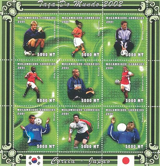 Football (D.Beckham, E.Davids, M.Owen, A.Cole, Ronaldo, E.Petit, Rivaldo, R.Fowler, Romario)9 x 5000 MT - Issue of Mozambique postage Stamps
