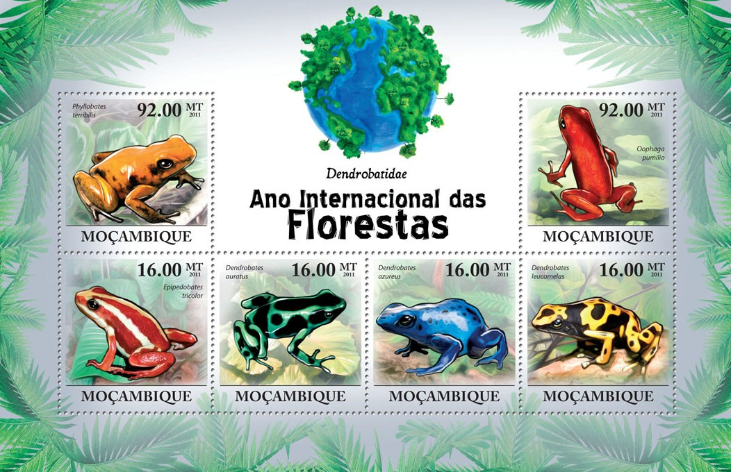 Pioson-Dart Frogs,  (Phyllobates terribilis ... Dendrobates leucomelas). - Issue of Mozambique postage Stamps
