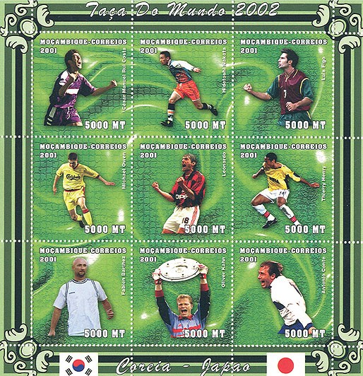 Football (C.M.Costa, H.Nakata, L.Figo, M.Owen, Leonardo, T.Henry, F.Barthez, O.Kahn, A.Conte) 9 x 5000 MT - Issue of Mozambique postage Stamps