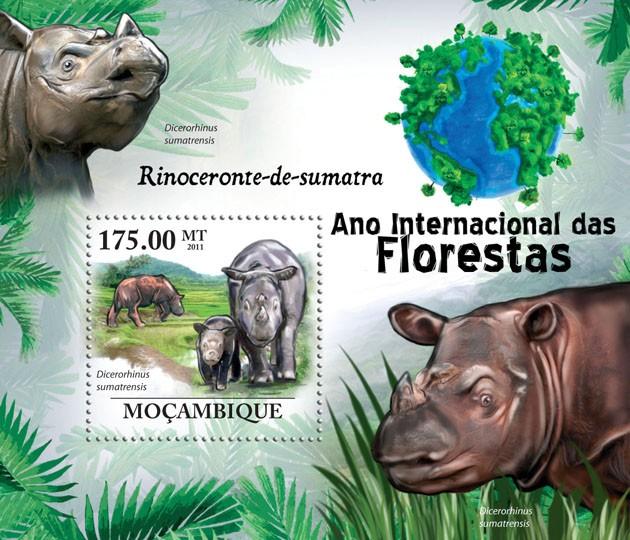 Sumatran Rhinoceros (Dicerorhinus sumatrensis) - Issue of Mozambique postage Stamps