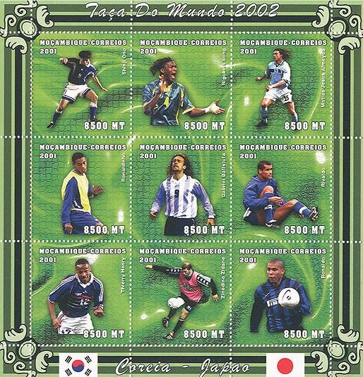 Football (S.Ono, S?ナono.Song, M.J.Almeyda, Ronaldinho, G.Batistuta, Rivaldo, T.Henry, Z.Zidane, Ronaldo)  9 x 8500 MT - Issue of Mozambique postage Stamps
