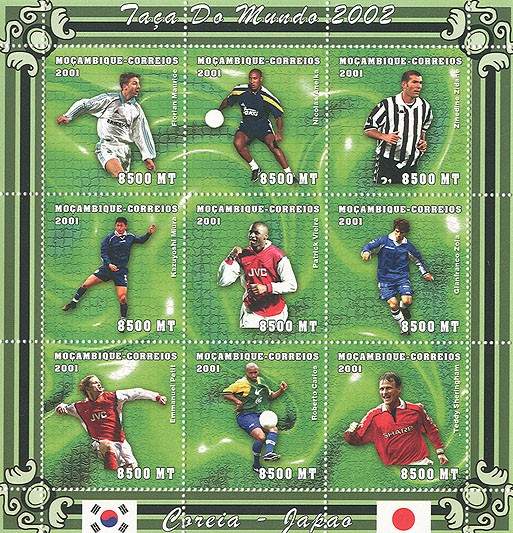 Football (F.Maurice, N.Anelka, Z.Zidane, K.Miura, P.Vieira, G.Zola, E.Petit, R.Carlos, T.Sherringham)  9 x 8500 MT - Issue of Mozambique postage Stamps