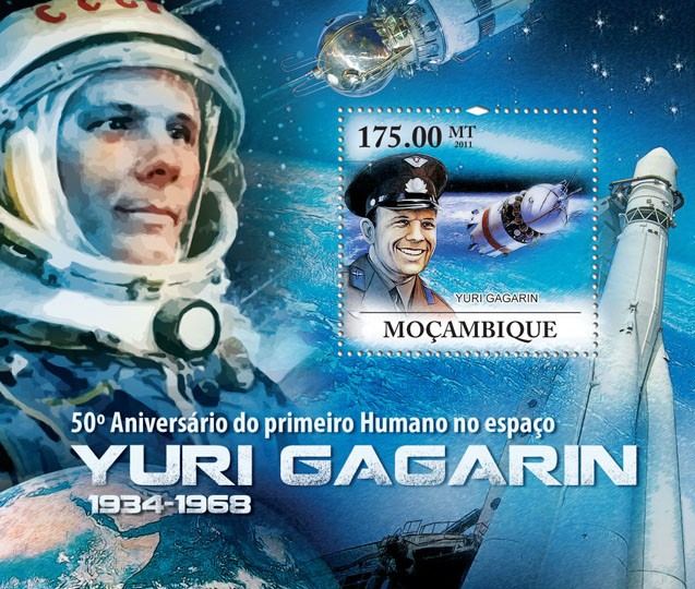50th Anniversary of the First Human in Space, Yuri Gagarin (1934-1968). - Issue of Mozambique postage Stamps