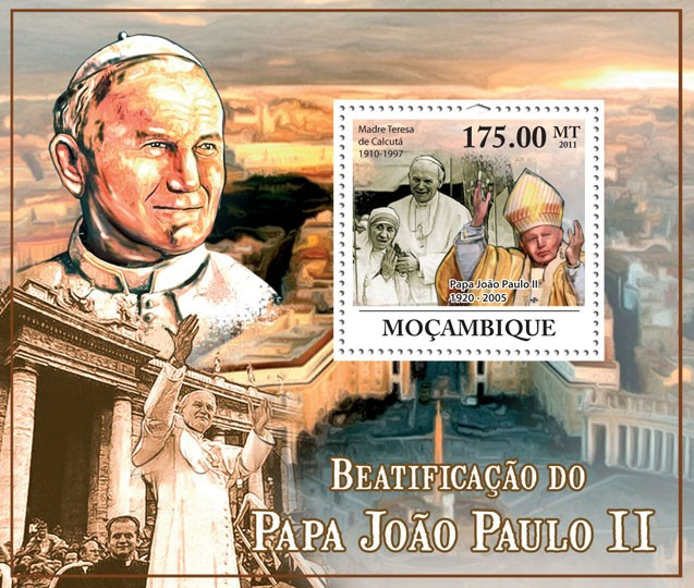 Beatification of Pope John Paul II (1920-2005). - Issue of Mozambique postage Stamps