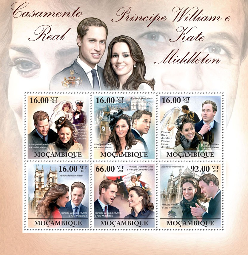 Royal Wedding, Prince William & Kate Middleton. - Issue of Mozambique postage Stamps