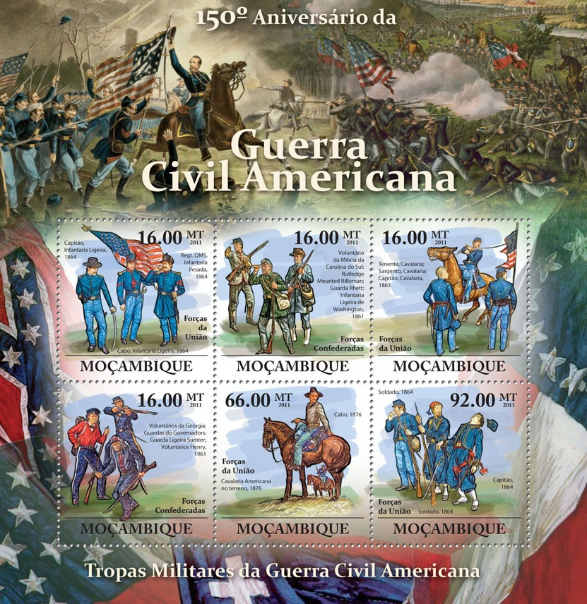 150th Anniversary of American Civil War. - Issue of Mozambique postage Stamps