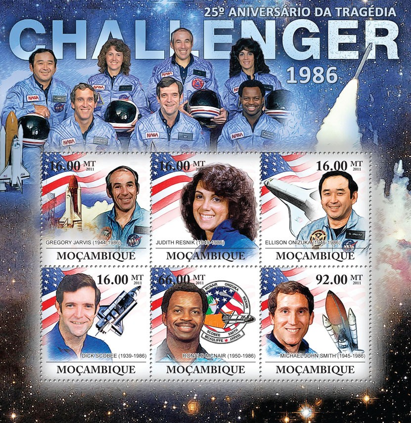 25th Anniversary of Challenger Tragedy, 1986. - Issue of Mozambique postage Stamps