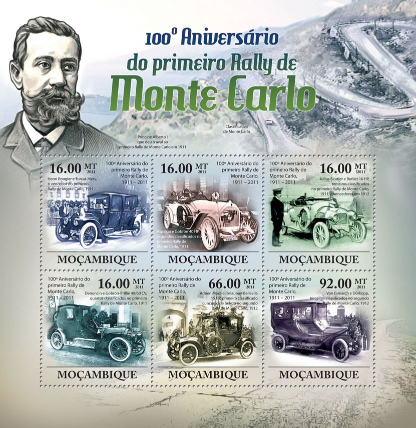 100th Anniversary of the First Monte Carlo Rally, 1911. - Issue of Mozambique postage Stamps
