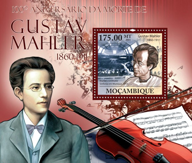 100th Anniversary of Death of Gustav Mahler, (1860-1911). - Issue of Mozambique postage Stamps