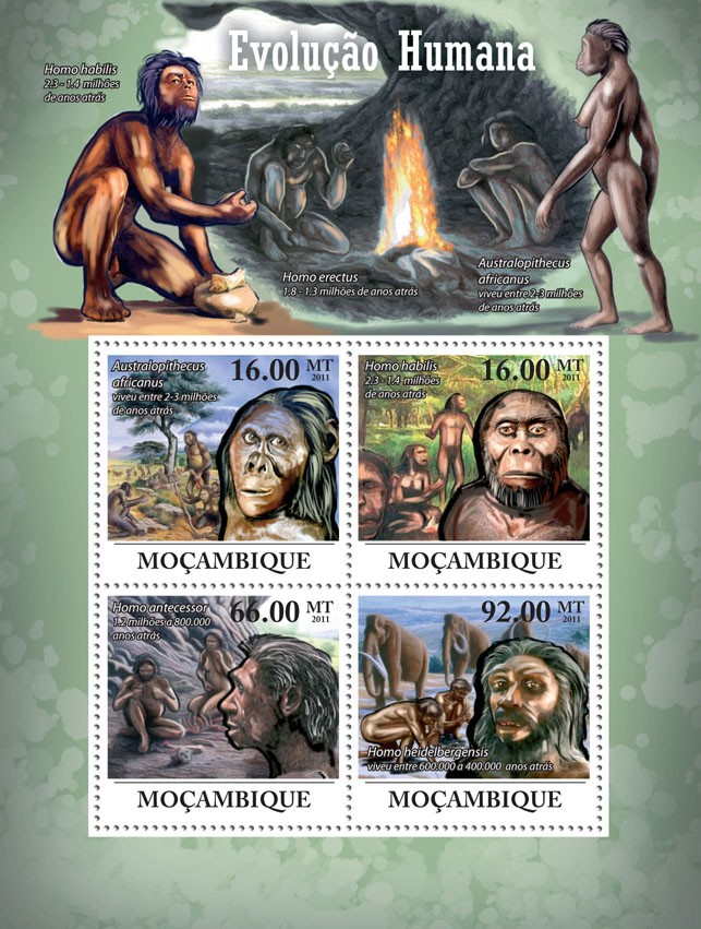 Human Evolution. - Issue of Mozambique postage Stamps