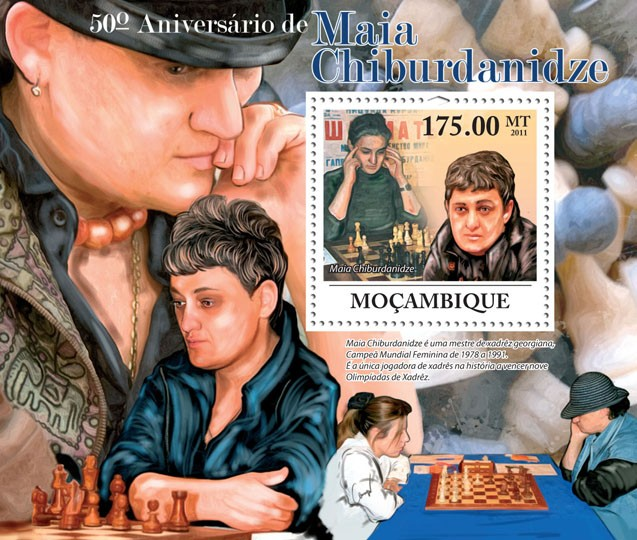 50th Anniversary of Maia Chiburdanidze, Chess. - Issue of Mozambique postage Stamps