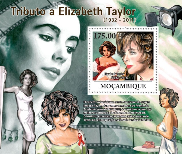 Tribute to Elizabeth Taylor, (1932-2011). - Issue of Mozambique postage Stamps
