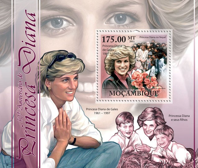 50th Anniversary of Princess Diana, (1961-1997). - Issue of Mozambique postage Stamps