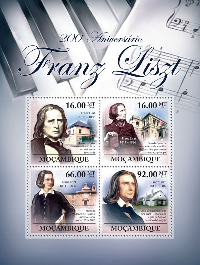 200th Anniversary of Franz List, (1811-1886). - Issue of Mozambique postage Stamps