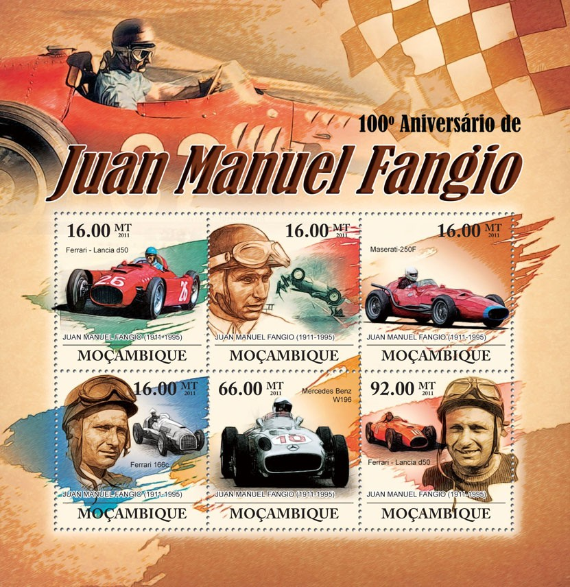100th Anniversary of Juan Manuel Fangio, (1911-1995) - Issue of Mozambique postage Stamps