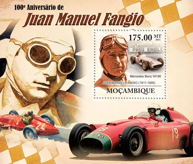 100th  Anniversary of Juan Manuel Fangio, (1911-1995). - Issue of Mozambique postage Stamps