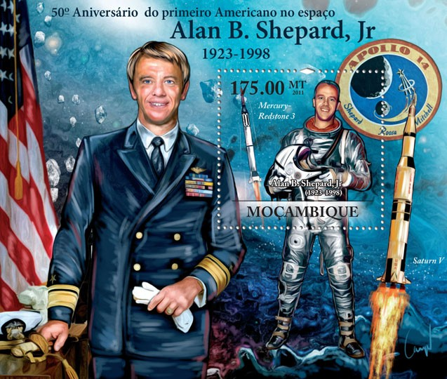 50th Anniversary of the First American in Space - Alan B. Shepard, Jr. (1923-1998). - Issue of Mozambique postage Stamps
