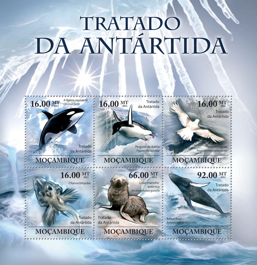 Antarctic Treaty, (Antarctic Animals & Birds). - Issue of Mozambique postage Stamps