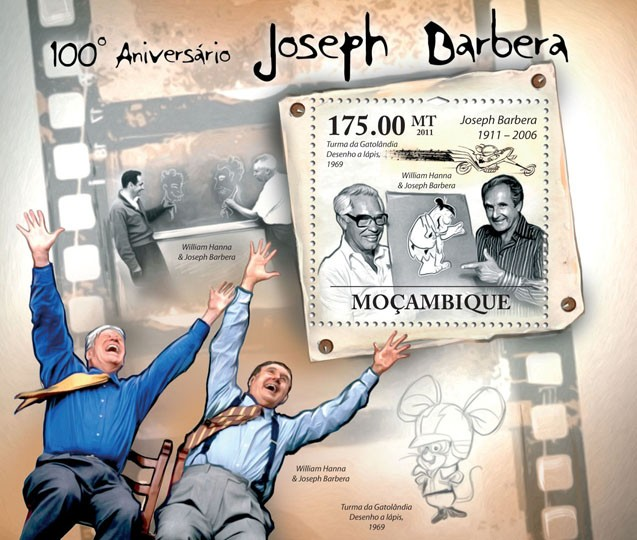 100th Anniversary of Joseph Barbera (1911-2006), Cartoons. - Issue of Mozambique postage Stamps