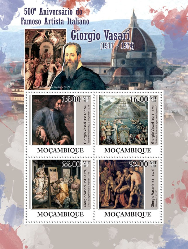 500th Anniversary of Giorgio Vasari  (1511-1574), Paintings. - Issue of Mozambique postage Stamps