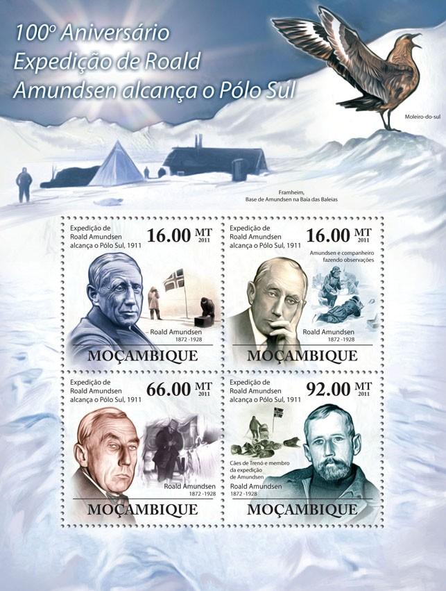 100th Anniversary of Roald Amundsen Expedition Reached the South Pole. - Issue of Mozambique postage Stamps