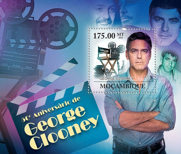50th Anniversary of George Clooney, Cinema. - Issue of Mozambique postage Stamps