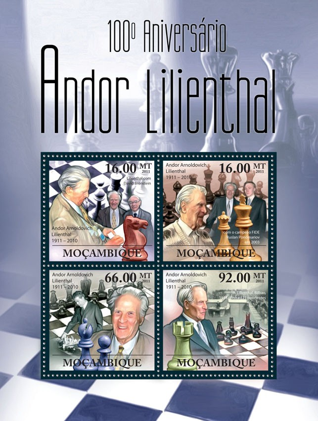 100th Anniversary of Andor Lilienthal (1911-2010) Chess. - Issue of Mozambique postage Stamps