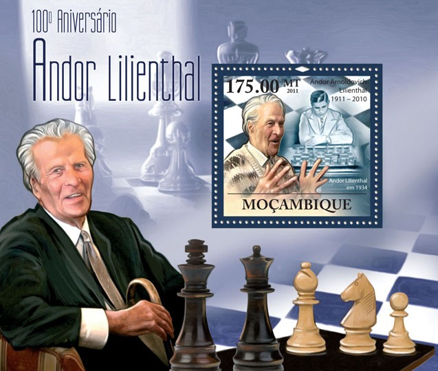 100th Anniversary of Andor Lilienthal (1911-2010) Chess - Issue of Mozambique postage Stamps
