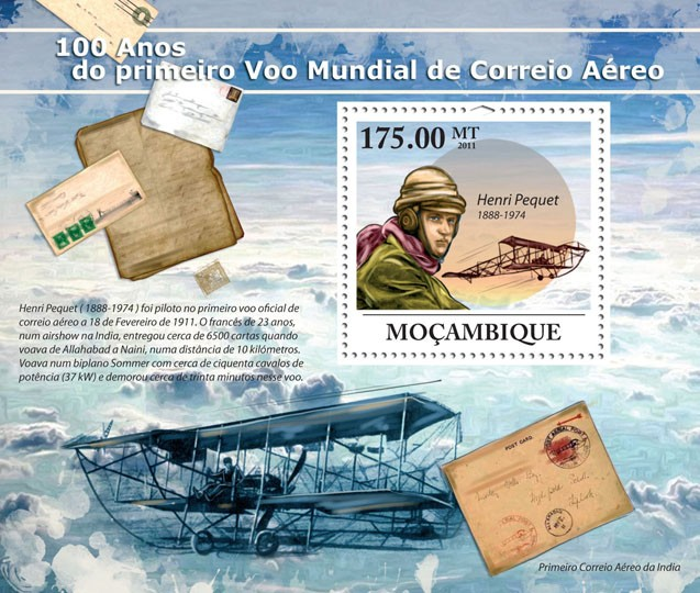 100 Years of the First World Air Mail. - Issue of Mozambique postage Stamps