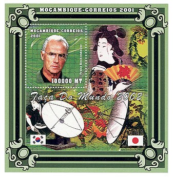 Football-F.Beckenbauer (satellities) 100000 MT  S/S - Issue of Mozambique postage Stamps