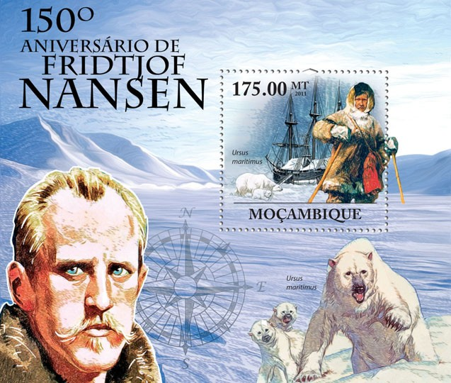 150th Anniversary of Fridtjof Nansen (1861-1930). - Issue of Mozambique postage Stamps