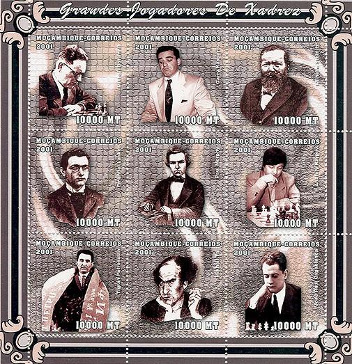 Chess (M.Botvinnik, G.Kasparov, W.Steinitz, E.Lasker, P.Morphy, A.Karpov, T.Petrossian, M.Tal, )  J.R.Capablanca)   9 x 10000 MT - Issue of Mozambique postage Stamps