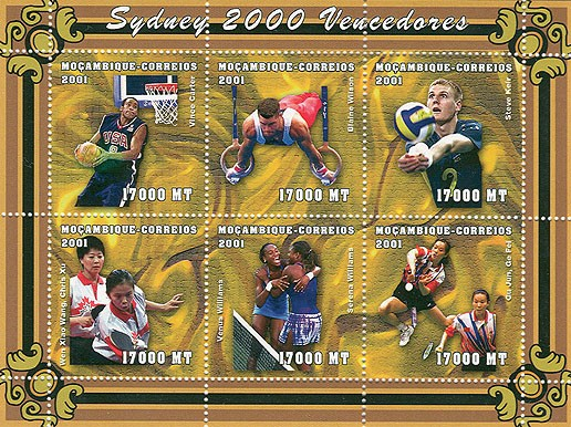 Basket, Anneaux, Volley, Ping-Pong, Tennis 6 x 17000 MT - Issue of Mozambique postage Stamps