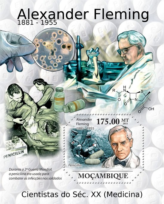Alexander Fleming ( 1881 - 1955 ), Medicine. - Issue of Mozambique postage Stamps