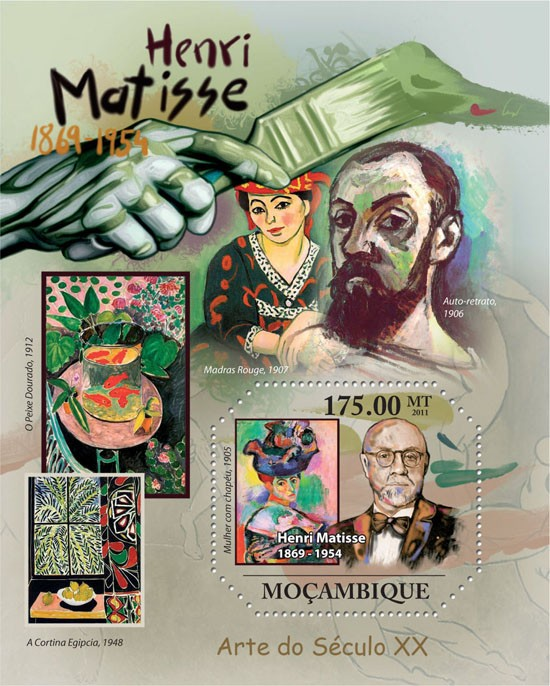 Henry Matisse ( 1869 - 1954 ), Paintings. - Issue of Mozambique postage Stamps