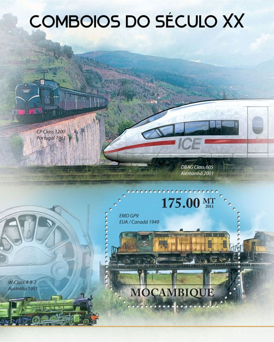 XX Century Trains. - Issue of Mozambique postage Stamps