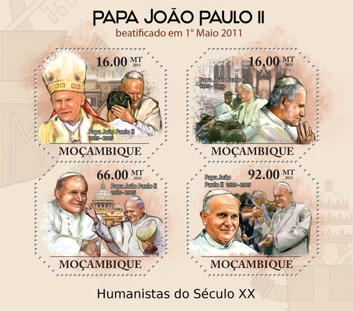 Beatification of Pope John Paul II. - Issue of Mozambique postage Stamps