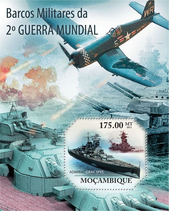 Military Boats of World War II. - Issue of Mozambique postage Stamps