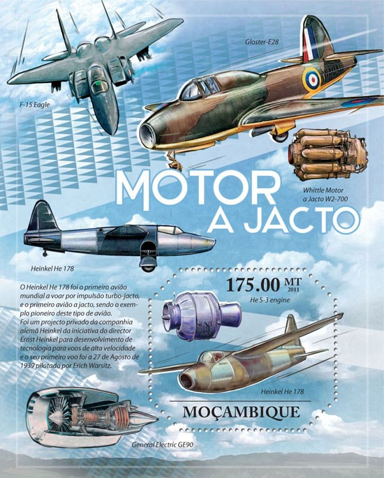 Jet Engines, Aircrafts. - Issue of Mozambique postage Stamps
