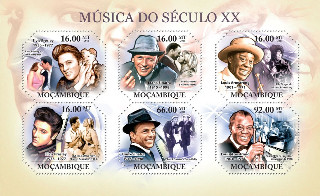 Music of XX Century I, ( Elvis Presley, ..., Louis Armstrong ). - Issue of Mozambique postage Stamps