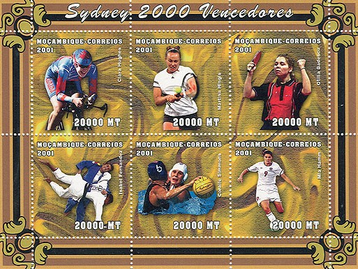 Cyclisme, Tennis, Ping-Pong, Judo, Waterpolo, Football  6 x 20000 MT - Issue of Mozambique postage Stamps
