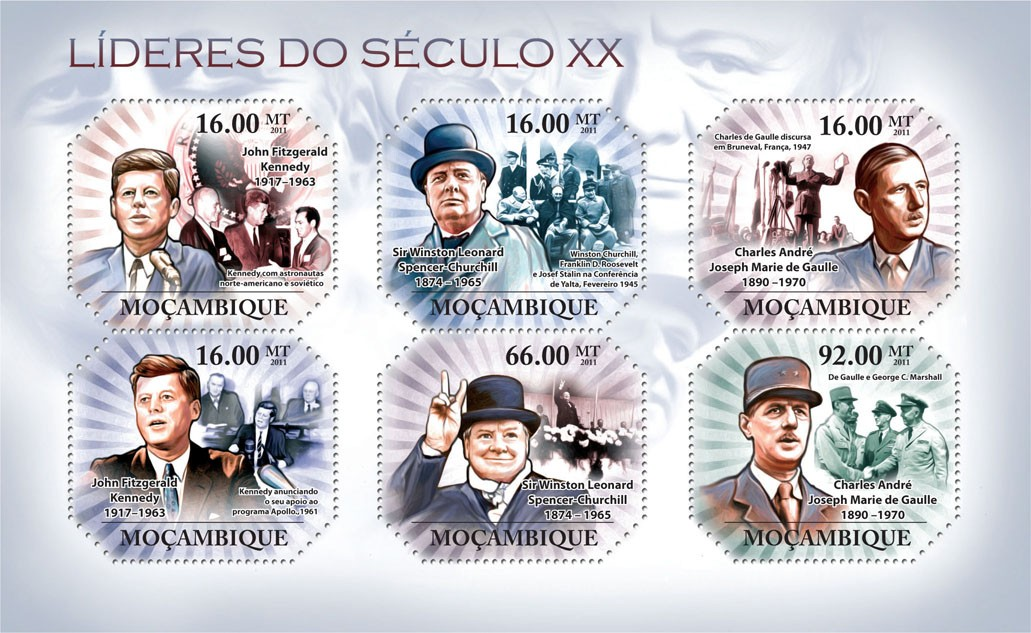 Leaders of XX Century I, ( J.F. Kennedy, ..., C.M. de Gaulle ). - Issue of Mozambique postage Stamps