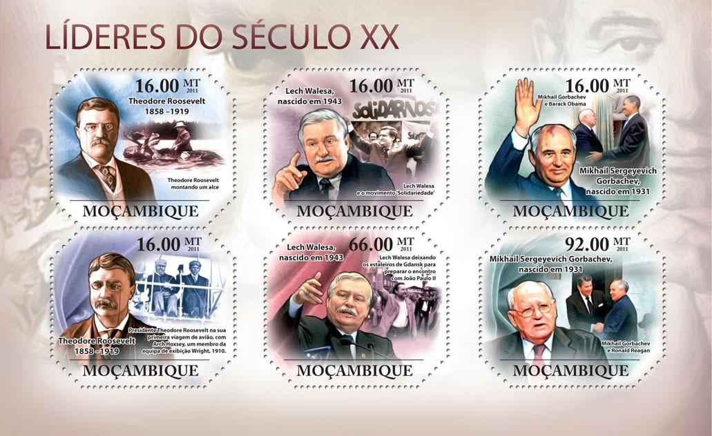 Leaders of XX Century II, ( T.Roosevelt, ..., M.S.Gorbachev ). - Issue of Mozambique postage Stamps
