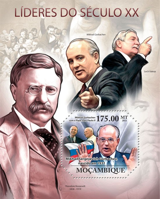 Leaders of XX Century II, (  M.S.Gorbachev ). - Issue of Mozambique postage Stamps