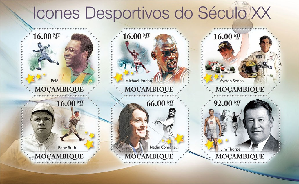 Sporting Icons of XX Century, ( Pele, ..., Jim Thorpe ). - Issue of Mozambique postage Stamps