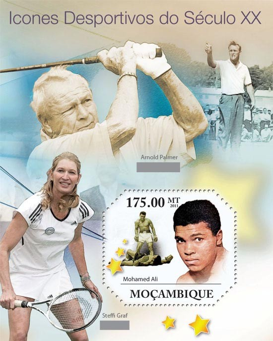 Sporting Icons of XX Century, ( Mohamed Ali ). - Issue of Mozambique postage Stamps
