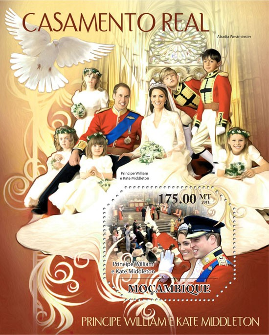 Royal Weddings, Prince William & Kate Middleton - Issue of Mozambique postage Stamps