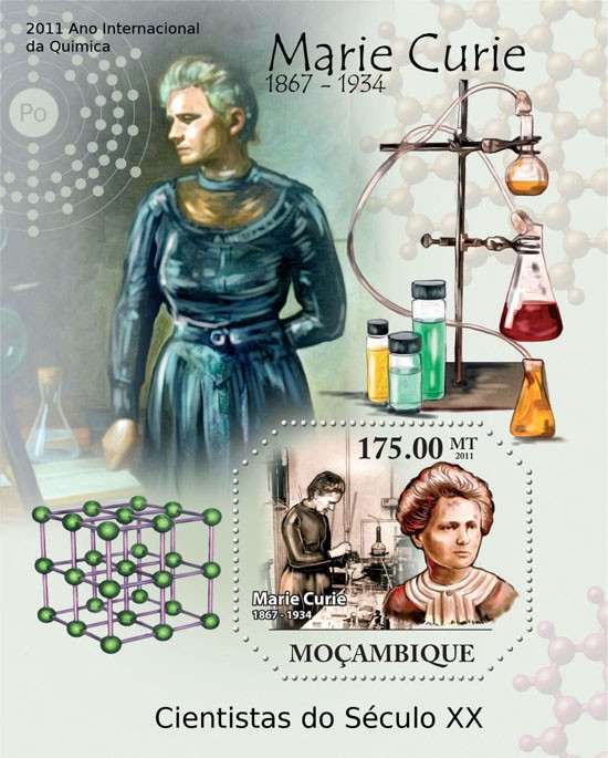 2011 International Year of Quimica,  Marie Curie (1867-1934). - Issue of Mozambique postage Stamps