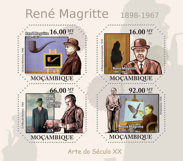 Paintings of Rene Magritte, (1898-1967 ). - Issue of Mozambique postage Stamps