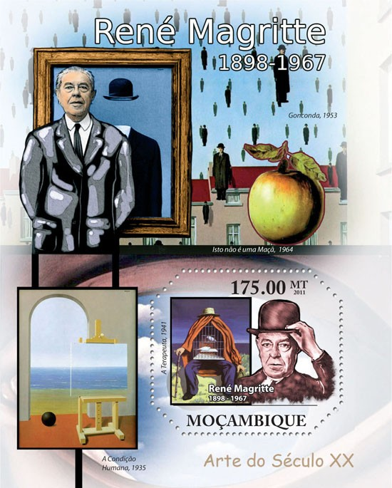 Paintings of Rene Magritte, (1898-1967). - Issue of Mozambique postage Stamps